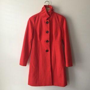 J.Crew stand ruffle collar orange/red coat size 00